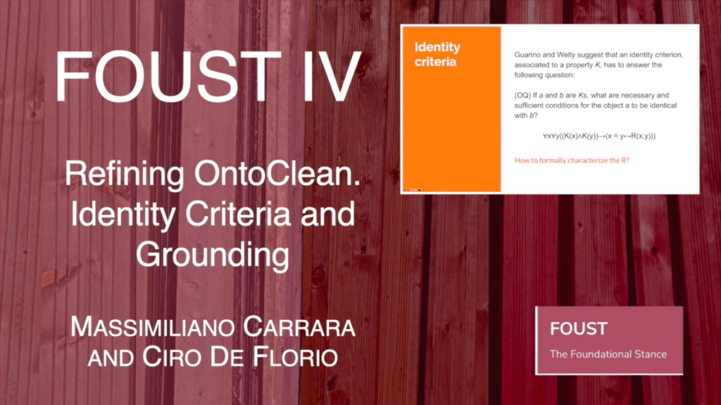 FOUST IV – Massimiliano Carrara and Ciro De Florio – Refining OntoClean. Identity Criteria and Grounding