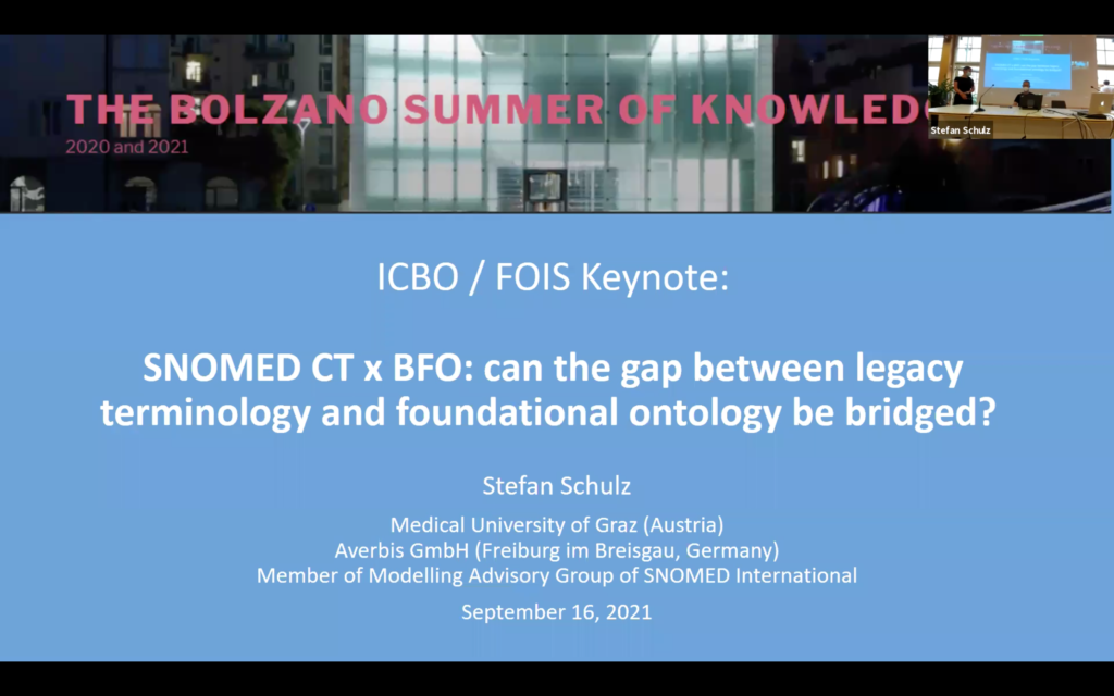 Stefan Schulz. SNOMED CT x BFO: can the gap between legacy terminology and foundational ontology be bridged? [uncut]